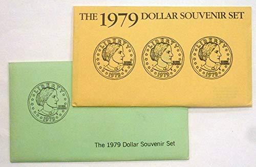 1979 Anthony Dollar - 1979 P D S Susan B Anthony Dollar Souvenir Set $1 US Mint Uncirculated