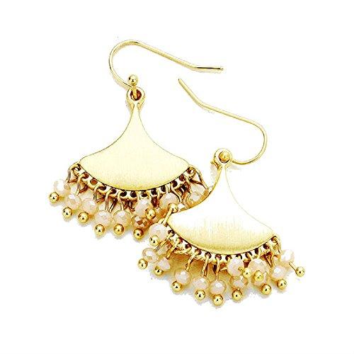 - Women's Worn Gold Tone Geo Metal Disc Faceted Neutral Bead Fringe Earrings, 0.9