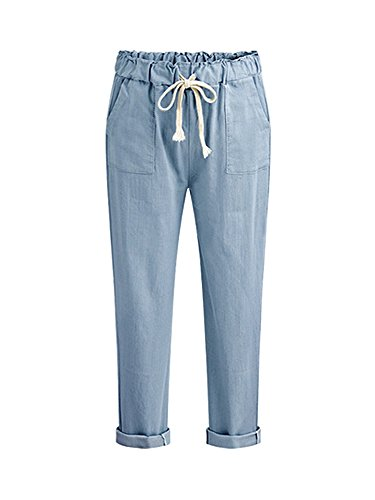 Gooket Women's Casual Plus Size Comfort Harem Pants Elastic Waist Drawstring Cropped Capris Pants Blue Tag 6XL-US 18 ()