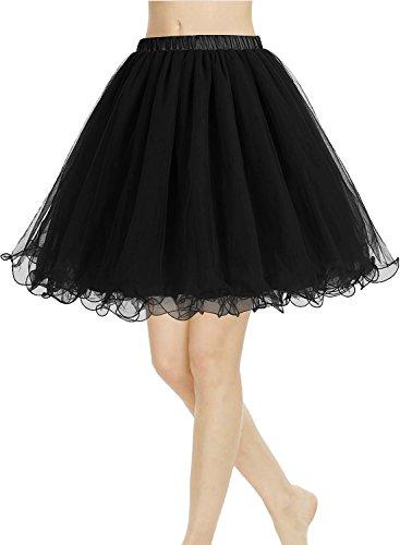 CoutureBridal? Femme Jupe Tutu 4 Couches Elastic Ceinture Princesse Tulle 55CM Noir