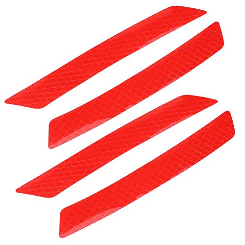 (Cuque 4Pcs Car Wheel Bumper Reflective Tape Caution Warning Safety Reflector Strips Tape Sticker Decal for Automobile Car (red))