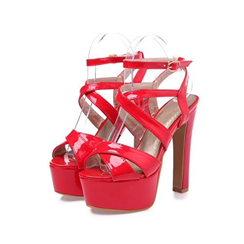 Adee Ladies cross-body-strap high-heels Poliuretano Sandalias Rojo - rojo