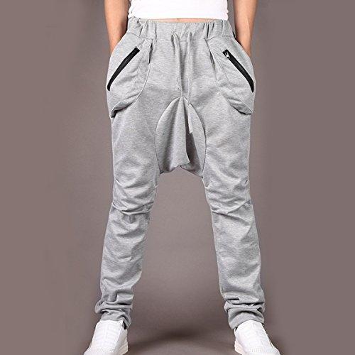 Stylish Casual Sport Sports Saggy Harem Cording Pants Trousers for Men Boys – Light Gray Size M