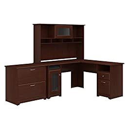 Bush Furniture Cabot L Shaped Desk with Hutch and Lateral File Cabinet in Espresso Oak