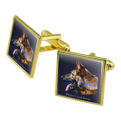 GRAPHICS & MORE Protect and Serve K9 Police Thin Blue Line German Shepherd Dog Square Cufflink Set Gold Color
