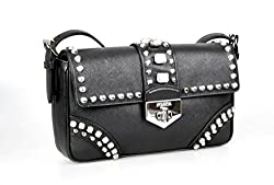 Prada Women S Br5084 Black Saffiano Leather Evening Purse