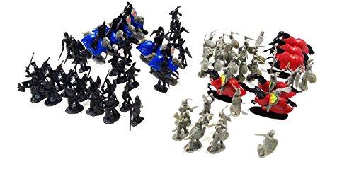 Fantasy Miniatures (75 Pcs Black & Gray Knights Medieval Play Set)