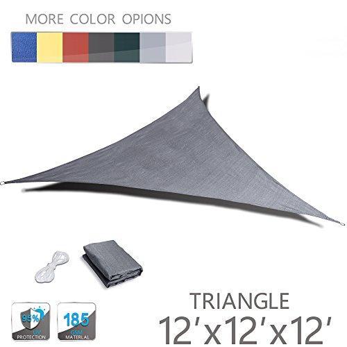 Love Story 12' x 12' x 12' Triangle Silver UV Block Sun Shade Sail Perfect for Outdoor Patio Garden