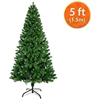 ANSIO Arbre de Noël 5ft / 1.5M Artificielle Sapin de Noël en Métal Stand 100% Virgin PVC Conseils ignifuges