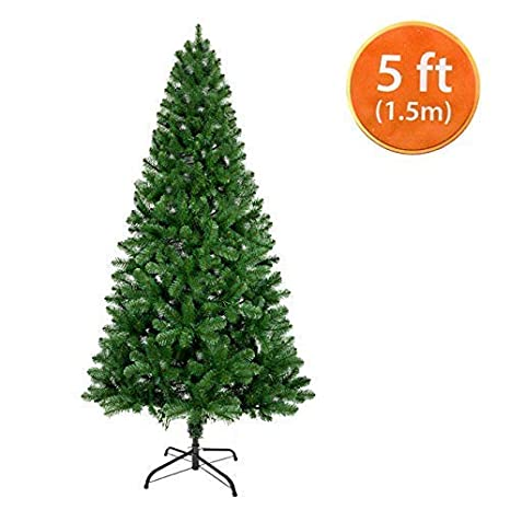 low priced b3759 92a1d ANSIO Christmas Tree 5ft / 1.5M Artificial Christmas Trees Metal Stand 100%  Virgin Fire Retardant PVC Tips