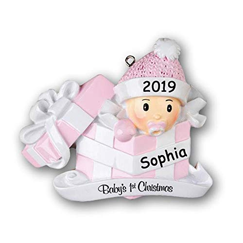 Personalized 2019 Baby's First Christmas Ornament Gift - Baby Girl in Pink Gift Box - Custom Name and Date