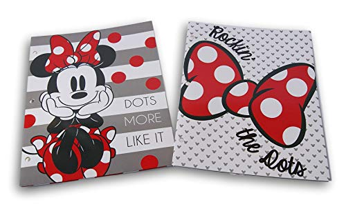 (Minnie Mouse Folders Bundle - Set of Two 3-Hole 2-Pocket Portfolio Folders)