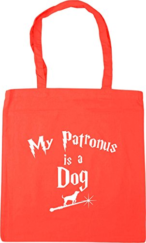 HippoWarehouse My Patronus Is A Dog Tote Shopping Gym Beach Bag 42cm x38cm, 10 litres Coral