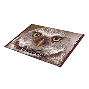 Face the Sea Funny Cute Owl Face Welcome Mat Monogrammed Door Mat