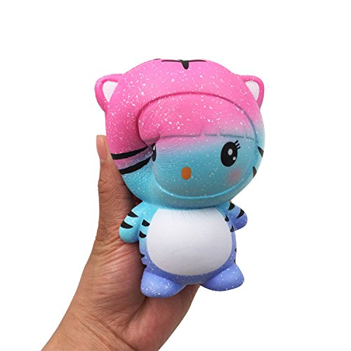 PINGCOOK Kawaii Cartoon Galaxy Tiger Squishy Soft Slow Rising Scented PU Foam Squishies Stress Reliever Toys