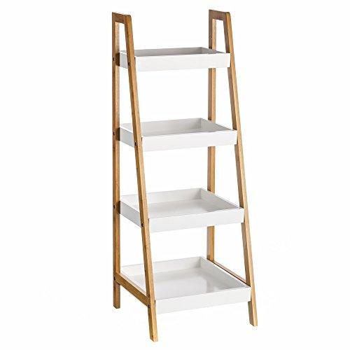 Estanter a de 4 baldas n rdica blanca de bamb para cuarto de ba o basic lola derek muebles - Amazon estanterias bano ...