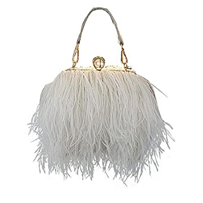 Zakia Real Natural Ostrich Feather Evening Clutch Shoulder Bag Party Bag