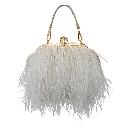 Zakia Real Natural Ostrich Feather Evening Clutch Shoulder Bag Party Bag (white) by Zakia