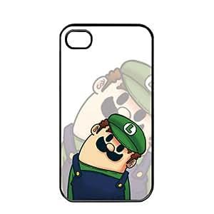 Popular Cute Cartoon Luigi Mario Apple iPhone 4 / 4s TPU Soft Black or White case (Black)