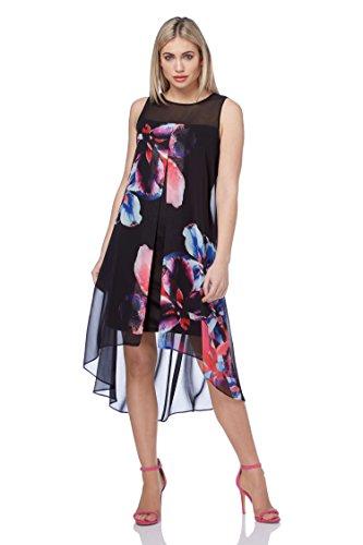 Femmes 48 38 Robe Noir Floral Originals Roman imprim Noir trapze Tailles SYqRz