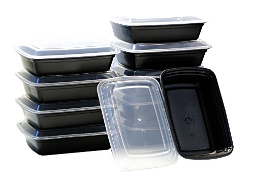 10-Pack Food & Health 38 oz Microwavable Microwave Safe Food Container Lid Bento Box, Black