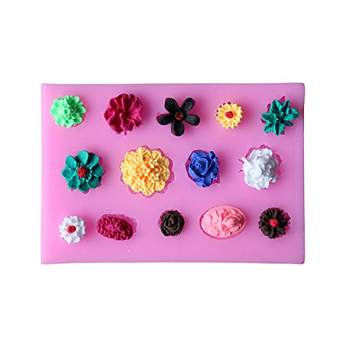 Flowers Silicone Fondant Cake Moulds Biscuit Cookie Handmade