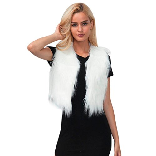 Sleeveless Fur - Quartly Women Lady Fluffy Faux Fur Vest Sleeveless Waistcoat Jacket Gilet Shrug Coat Outwear (S, White)