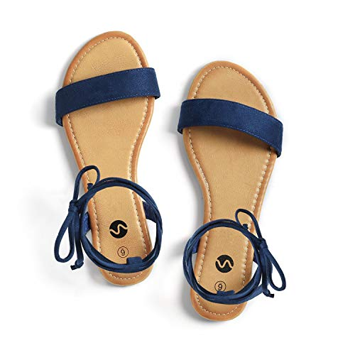 Girls Navy Sandals (Rekayla Open Toe Tie Up Ankle Wrap Flat Sandals for Women Navy Blue)