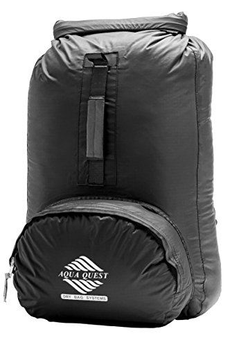 Aqua Quest Himal Backpack - 100% Waterproof 25L Dry Bag - Lightweight, Foldable, External Pocket - Black