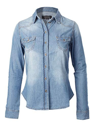 Instar Mode Women's Slim Fit Long Sleeves Chest Pocket Denim Chambray Shirts Light Denim L ()