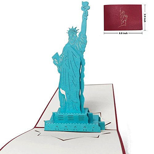 New York City Christmas Card - Popuppeach New York City Greeting Card Unique Pop Up Card Designed Statue of Liberty 3D Card
