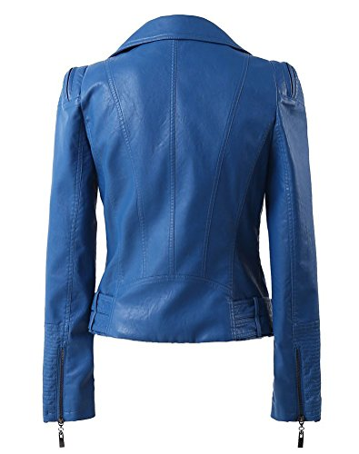 Moto Blue Details Up Womens Faux Leather Zip with Biker Jacket Many Benibos p4TqFwXX