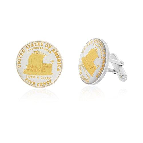 Two Tone Lewis & Clark Nickel Coin Cufflinks (Clark Nickel Lewis And)