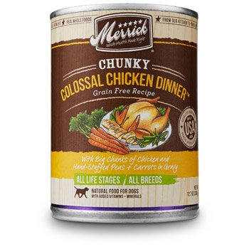 Amazon.com: Merrick Chunky Colossal Chicken Dinner Canned Dog Food, 12.7 oz.: Pet Supplies