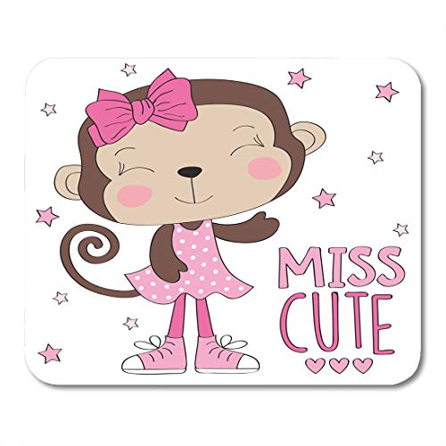 """Semtomn Mouse Pad Brown Funny Miss Cute Monkey Girl Colorful Baby Safari Mousepad 9.8"""" x 7.9"""" for Notebooks,Desktop Computers Mouse Mats, Office Supplies"""