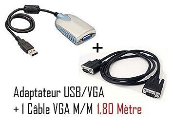Cabling-Cable adaptador de tarjeta gráfica externa USB VGA 3 ...