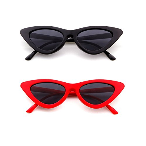Multi Eye Protection (Cat Eye Sunglasses for Women, Red Black 2 Pack, Retro Small Frame UV Protection)