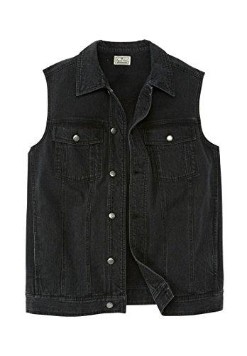 Big And Tall Cotton Jeans (Liberty Blues Men's Big & Tall Button Front Cotton Denim Vest, New Black)