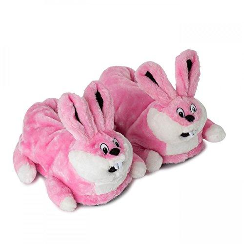 Funslippers®, Chaussons Animaux Fantaisie Adulte Testé pour les substances nocives**, avec semelle caoutchouc solide lapin rose