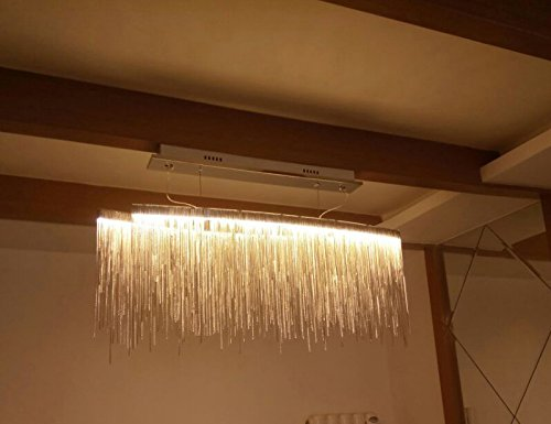 Yue Jia Contemporary Aluminum Linear Chandelier Luxury Pendant Lamp Contemporary Chandelier Island Lighting Fixture for Dining Room Over Table L47'' x W9'' x H14'' by YUEJIA (Image #3)