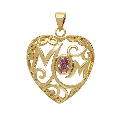 The Bling Factory Gold Plated Open Scrolled Mom Heart Pendant w/Pink Oval CZ + Microfiber Jewelry Polishing Cloth