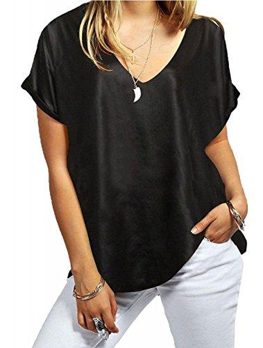 Femme T Imprimé Unique 21fashion Taille Noir Courtes Look shirt Manches Wet dXpqFWwPq