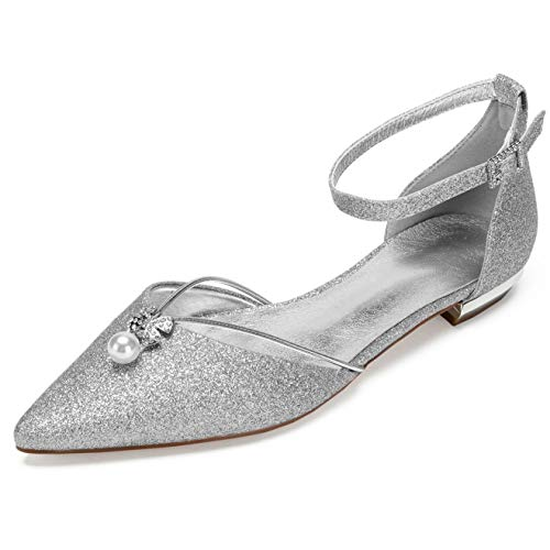 Creativesugar Women Flats Silver Glitter Dress Shoes, Pointed Toe D'Orsay Ankle Strap with Pearl Crystal Bridal Wedding Flats (9.5, Glitter Silver) (Wedding Dress Shoes Flats)