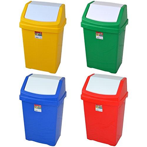 50 Litre Recycling Abfalleimer mit Schwingdeckel - Rot/Grün/blau/Gelb