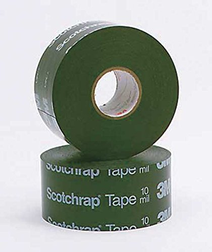 3M Scotchrap 50 Unprinted All-Weather Corrosion Protection Electrical Tape, -48 to 80 Degree C, 12000V Dielectric Strength, 100′ Length x 6″ Width, Black