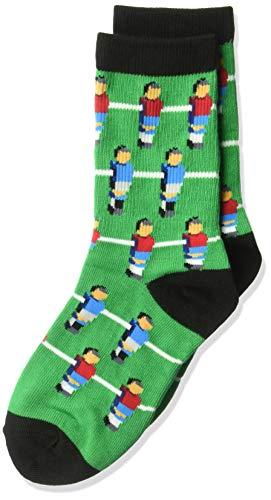 K. Bell Boys' Big Fun Novelty Crew Socks, Green (Foosball), Shoe Size: 7.5-13