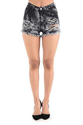 G-Style USA American Bazi Women's Distressed & Frayed Hem Acid Wash Tie Dye Denim Shorts RSS894 - Black - Large - H19F