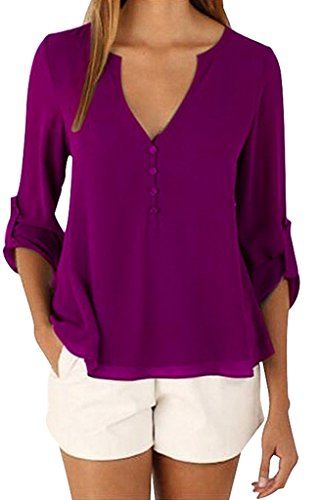 Manzocha Women's Chiffon T Shirt Boyfriend Blouse Cuffed Sleeve Tops – Small, Purple