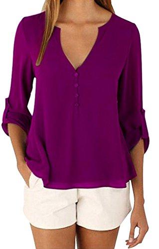 Sumtory Women's 3/4 Cuffed Sleeve Chiffon Blouse Button V Neck T Shirt(S-5XL) – Small, Purple