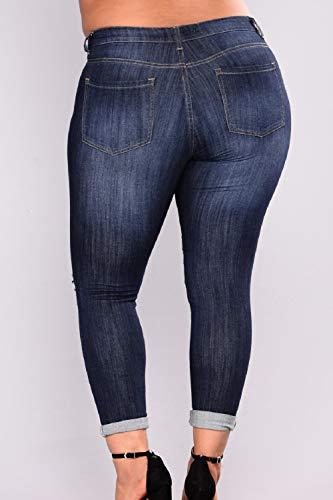 Destoryed Taglia Jeans Con Tasca Yulinge Blu Donne Le Strappati Sn01w